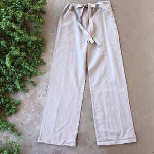 French Connection Wide Leg Beige Linen Pants